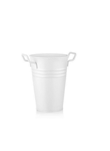 The Mia Vazo - 30 Cm Galvaniz Vazo Beyaz Renkli